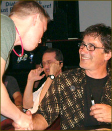 "A fan congratulates Donnie on the release of the new ""Ellwood City"" CD just as the party gets underway."